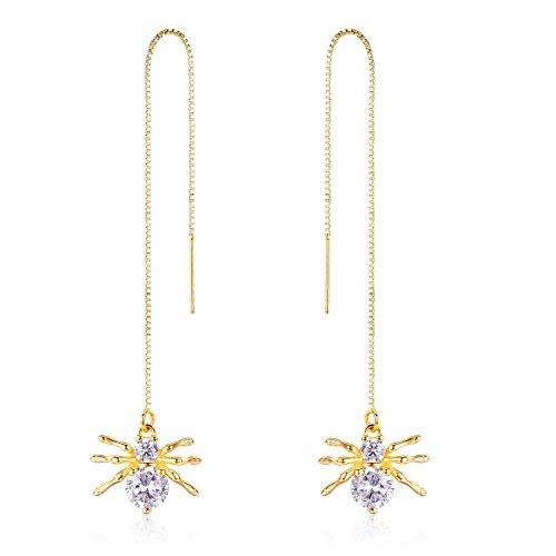14k Gold Sterling Silver Tassel Threader Dangle Drop Earrings Nickel Free Hypoallergenic Ear hook (Yellow Gold) 14k Yellow Gold Threader Earrings