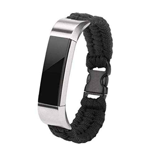 Windoson Fitbit Alta Strap Watch Band,Nylon Rope Survival Bracelet Watch Band for Fitbit Alta/Fitbit Alta HR (Black)