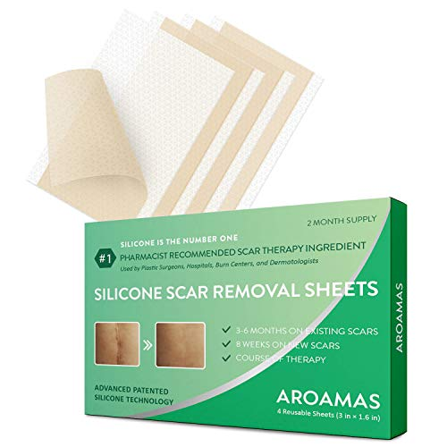 (Aroamas, Silicone Scar Removal Sheets - for Keloid, C-Section, Hypertrophic, Surgical Scars and More Reusable and Washable 3