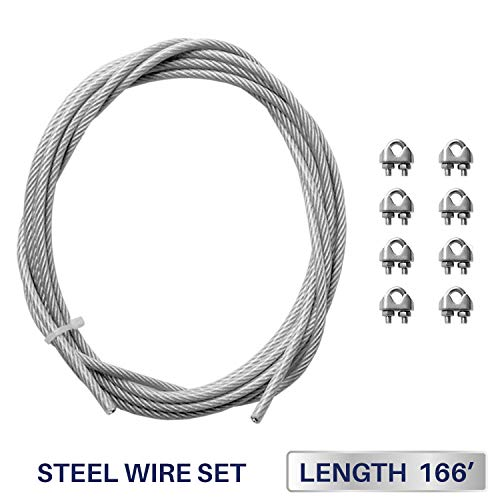 Windscreen4less Shade Sail Wire Rope and 8 Pcs Clips, Vinyl Coated Wire Cable Galvanized Metal Clamp, 3/16-Inch x 166 Feet