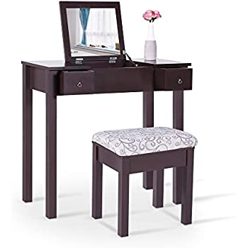Amazon Com Vanity Table Set Mirror Stool Bedroom Furniture Dressing Tables Makeup Desk Gift