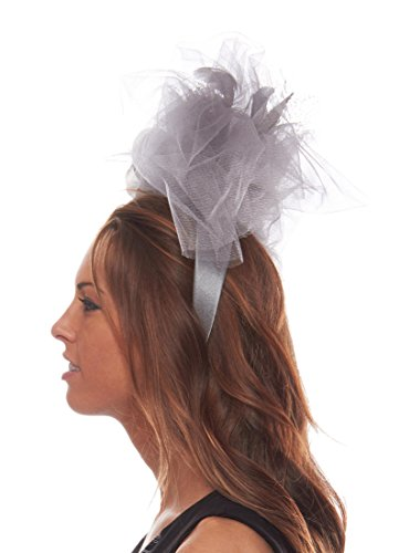 Flaunt It Feathered Fascinator Cocktail Hat with Headband, Silver