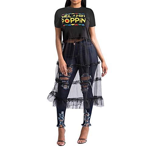 Womens Sexy Mesh See Through Short T-Shirt Dress Letter Print Mini Dress Party Clubwear Black