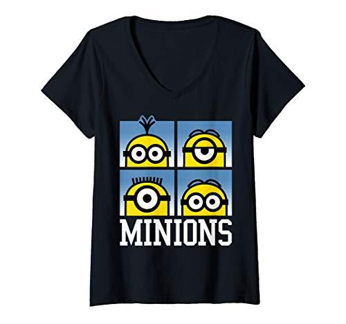 Womens Despicable Me Minions Minions Bust Portrait Grid Logo V-Neck T-Shirt]()