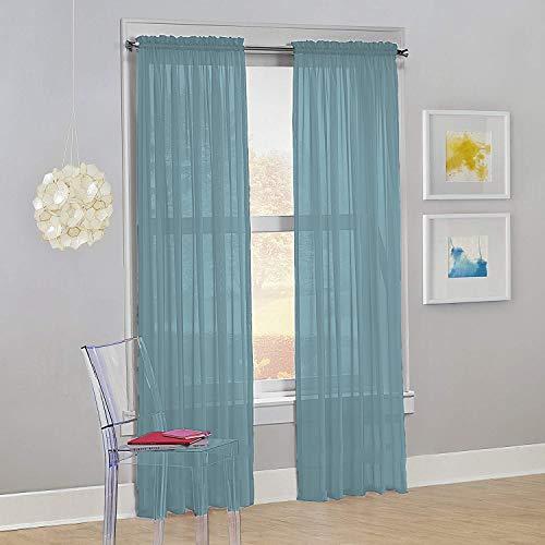 "Decotex Set of 2 Sheer Voile Transparent Window Panel Curtain Drapes (54"" W X 63"" L, Slate Blue)"