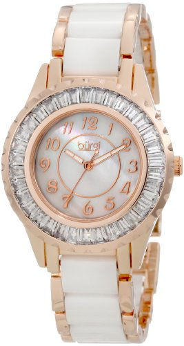Burgi Women's BUR066WTR Ceramic Bracelet Baguette Quartz Watch