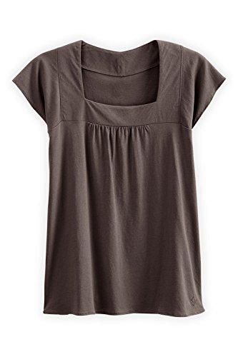 Fair Indigo Fair Trade Organic Cap Sleeve Square Neck Tee (XL, Iron) ()