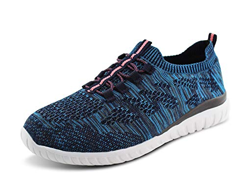 Image of Jabasic Women Breathable Knit Shoes Casual Lightweight Slip On Running Sneakers (7 B(M) US, Navy)