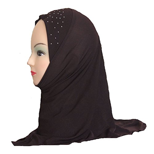 Cogongrass Girls Kids Muslim Hijab Islamic Scarf Shawls Simple Style Polyester about 45cm Brown