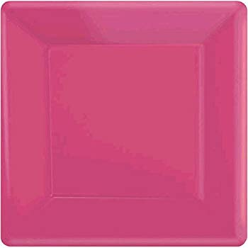 Amscan Square Paper Plates 7  20ct - Bright pink & Amazon.com: Amscan Square Paper Plates 7