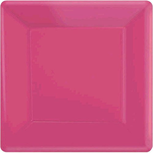 Amscan 64020.103 Square Paper, Pink Plates, 20 -