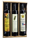 Award Winning Olive Oil Gift Set (Texas Millers Blend 500ml, Terra Verde Estate Blend 500ml, Sola Stella 500ml, Kraft Gift Box)