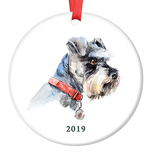 (Cute Schnauzer Christmas Ornament 2019 Dog Lover Ceramic Keepsake Present Whiskered Miniature Schnauzer Shelter Rescue Family Adopted Pooch 3