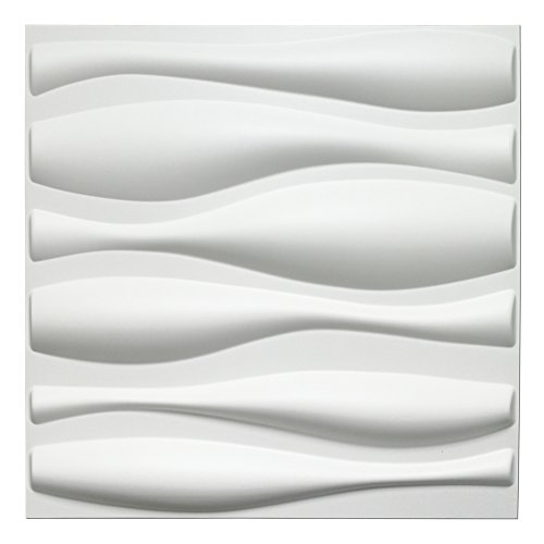 Art3d Durable Plastic 3D Wall Panel PVC Wave Wall Design, White, 12 Panels 32 - Textured Panels 3d Wall