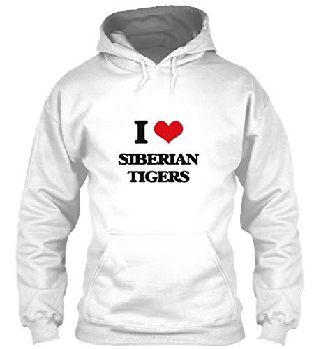 Siberian Tiger Sweatshirt - I Love Siberian Tigers XL - White Sweatshirt - Gildan 8oz Heavy Blend Hoodie
