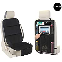 AOAFUN 2 Set Car Seat Protector&Kick Mat Auto Seat Back Protector,Extra Large Storage Pocket,Prevents Dirt and Damage…