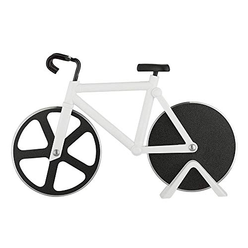 REAMTOP Bicycle Pizza Cutter - Dual Stainless Steel Non-Stick Cutting Wheels - Display Stand - A Very Cool Gift for the Kitchen (Bicycle Pizza Cutter)