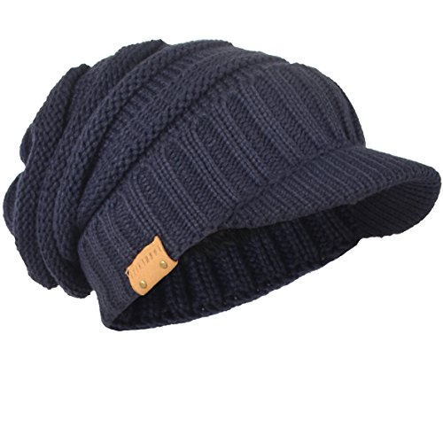 HISSHE Mens Slouch Beanie Vintage Knit Cadet Cabbie Skull Cap With Visor B319 - Free One Day Shipping