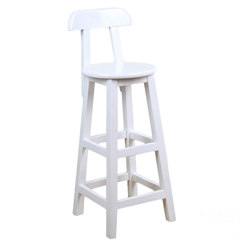LIQICAI Wooden White Bar Stool with Backrest and Footrest Breakfast Extremely Comfy, 4-Leg Structure, 3 Height Optional (Color : 1 PCS, Size : 36x36x90cm)