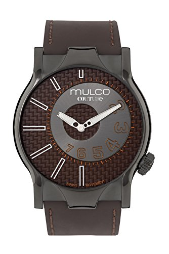 Mulco Couture NYC Quartz Slim Analog Swiss Movement Men's Watch | Premium Analog Display with Gun Metal Plaque Accents | Brown Watch Band | Water Resistant Stainless Steel Watch MW5-2013-335