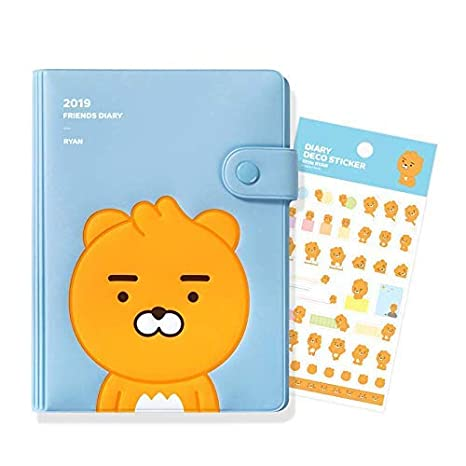 2019 Kakao Friends Spiral Bounding Monthly and Weekly Planner Daily Diary Calendar Book Organizer Journal Time Management with Special Deco Sticker, ...