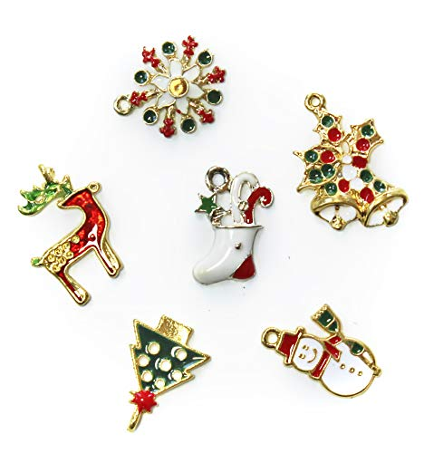 ALL in ONE Mixed Gold Plated Christmas Charms Pendants Findings for DIY Jewelry Making (14pcs, 7styles) ()