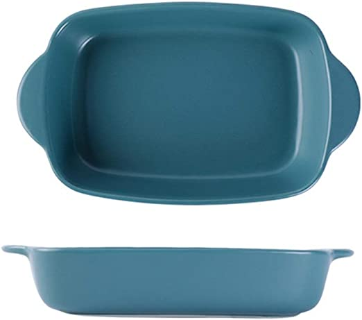 Amazon Com Lasagna Pan Binaural Ceramic Plate Baking Pan Western Plate Oven Tableware Vegetable Plate Cheese Baked Rice Plate Multi Baker Dish Color Green Size One Size Kitchen Dining