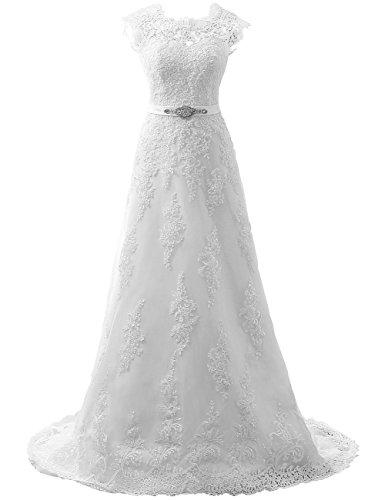 - JAEDEN Wedding Dress Lace Bridal Dresses with Crystal Sash Wedding Gown A Line Bride Dress Cap Sleeve White