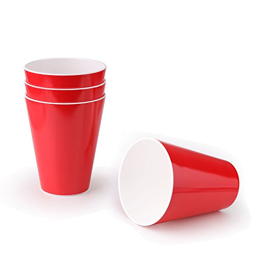 Melamine Tumbler cups,Mobaa Red Reusable Melamine Drinking Cup for Juice Tea Cola Wine Great for Party outdoors individual service,Set of 4 (4.3x3.1 inch)