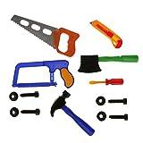 Flormoon Educational Pretend Play Kids Tool Set Craftsman Carpentry Repair Saw Hammer Axe Toy Set(Random Color)