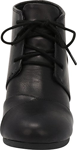 Wrapped Lace Select Cambridge Toe Black Bootie Women's Pu up Wedge Oxford Round Ankle xqXW04q