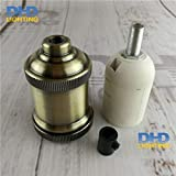 Lamp Base - 4 colors E27 lighting socket DIY vintage iron pendant lamp accessories industrial aluminum ceramic lamp holder - (Color: antique brass, Base Type: 10units)