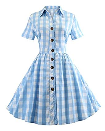 ZAFUL Women's 1950s Vintage Cap Sleeve V Neck Plaid Swing Dress with Pockets(Blue Checkered with Button,S)