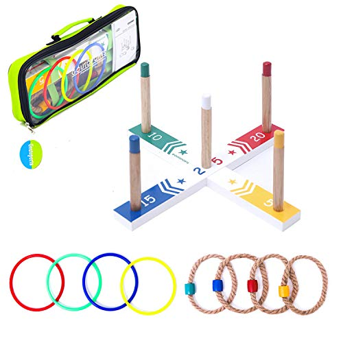 Goutoports Colorful Ring Toss Game Set Fun Family Games for Kids and Adults with 4 Quoits Ropes, 4 Plastic and Carry Bag