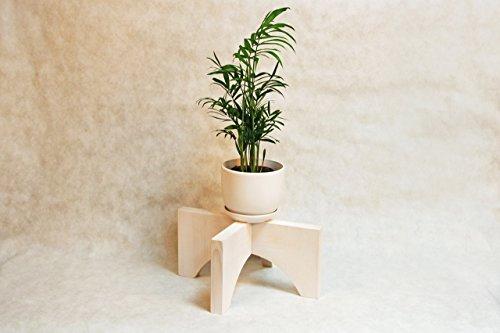Mid Century Corner Plant Stand Indoor White 12x6 Inch Modern Decorative Wooden Pot Vase Holder Wood Retro Flower Display for Living Room Bedroom Window Housewarming Gift (Eve Harbor National Christmas)
