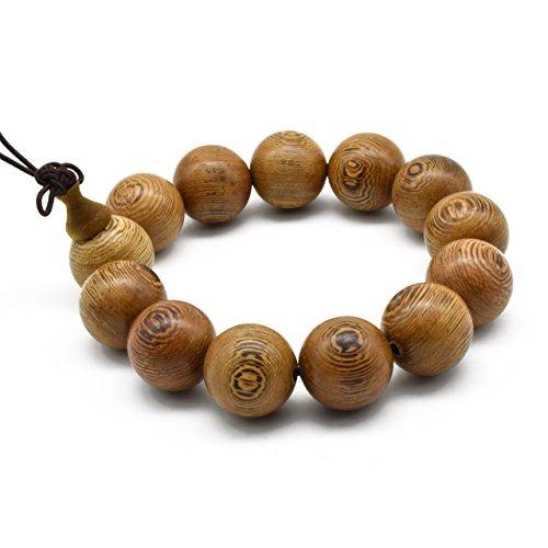 - Zen Dear Unisex Natural Wenge Wood Mala Prayer Beads Necklace Bracelet Meditation Buddhist Rosary Mala Beads (18mm 13 Beads)