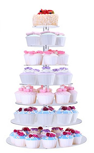 BonNoces Acrylic 7-Tier Round Stacked Party Cupcake Stand -Tiered cake Stand / Cupcake Tower -Tea Party Serving Platter for Wedding Party (Cheap Cupcake Stand)