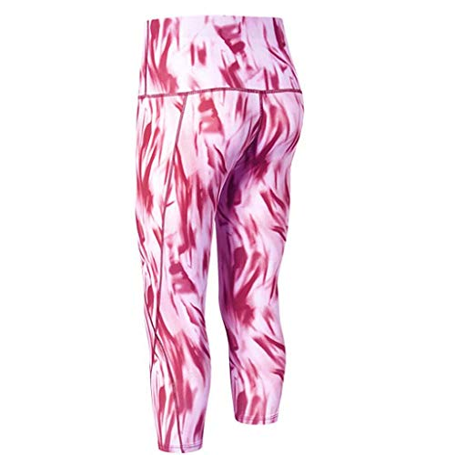 iHPH7 Workout Leggings for Women Printed high-Waist Cropped Trousers Slant Pocket Fitness Running Yoga Wicking Tight Pants (XXL,Pink)]()