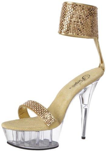 Pleaser Women's Delight-671 GPU Platform Sandal,Gold Metallic Polyurethane/Clear,11 M US