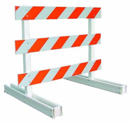 Type III Break-Away Barricade, White, Plastic, 3-4' Boards w/HIP Org/Wht Sheeting, 1-side, Left Orien