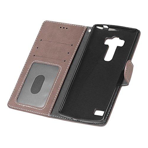 YHUISEN Estilo retro de color sólido Premium PU cuero cartera de la caja Flip Folio cubierta protectora de la caja con ranura para tarjeta / soporte para LG G4 Beat / G4s / H735 ( Color : Purple ) Brown