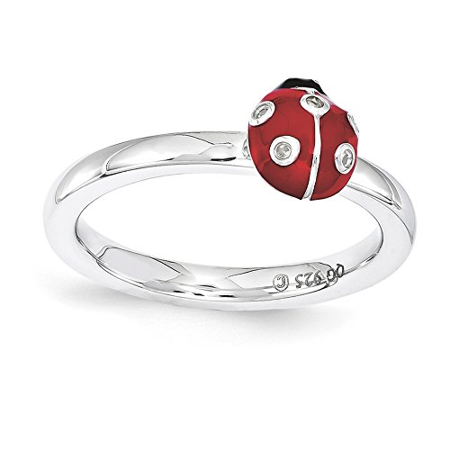 Black White Enamel Rhodium Ring - Sterling Silver Stackable Enamel .015Ctw Diamond 7mm Ladybug Ring Sz 5