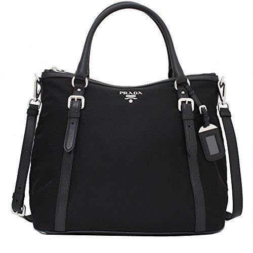 Prada Women's Tessuto Soft Calf Hobo Bag 1BC116 Black (Prada Womens Nylon Handbag)