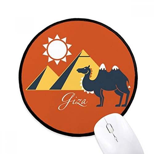 Sphinx Slip - Egypt Pyramid Sphinx Camel Pattern Round Non-Slip Mousepads Black Titched Edges Game Office Gift