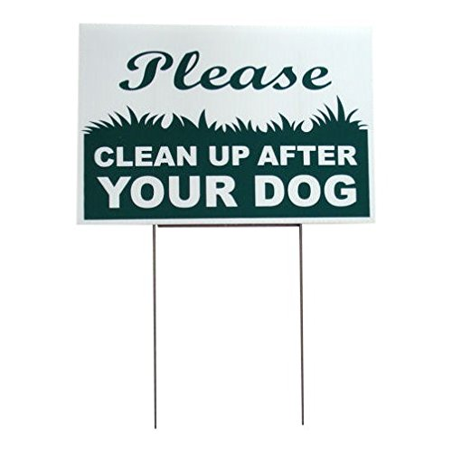 Yard Signs, lawn signs, garden signs , no dog poop sign - sign reads Please Clean Up After Your Dog sign, 8 x 12 Inches with Stake, 1 Pack by Biosynol