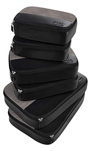 6pc Lightweight Travel Packing Cubes - Compression Luggage Organizers Set for Suitcase, Bag, Backpack, Luggage, Carry on (2 Small, 2 Medium, 2 Large, Black)