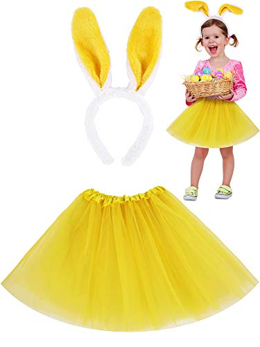 Zhanmai Easter Costume Accessories Set, Tutu Skirt and Bunny Ear Headbands for 2 to 8 Years Old Toddler Girls (Yellow)