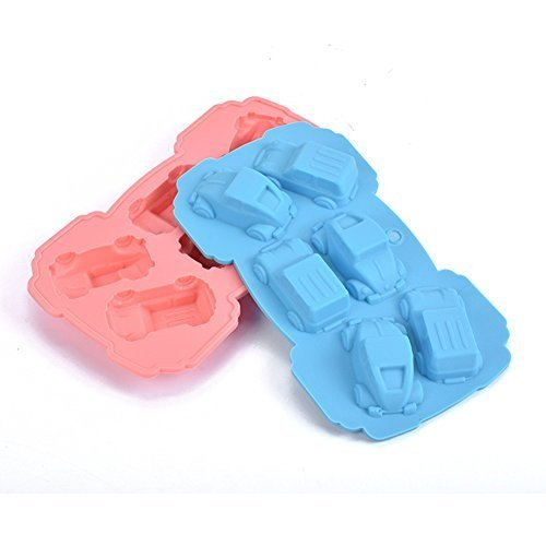 Always Your Chef Silicone 2 Pack Ice Cube Trays & Candy Molds & Chocolate Molds,Cars Shaped,Random Color -
