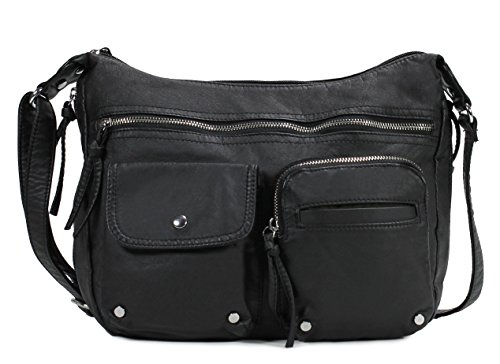 Scarleton Soft Washed Multi Zip Crossbody Bag H180001 - Black