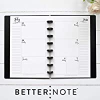 "BetterNote July 2020 - June 2021 Academic HORIZONTAL Weekly & Monthly Calendar for Disc-Bound Planner, Half Letter Size, Fits 8 Disc Circa Junior, Arc Jr, 5.5"" x 8.5"" Whimsy (Notebook Not Included)"